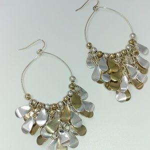 NWT TeSori Feather Drop Hoop Earrings